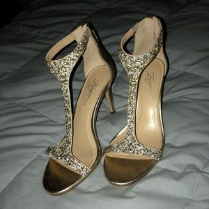 Vince Camuto Phoebe T-Strap Heels in Soft Gold